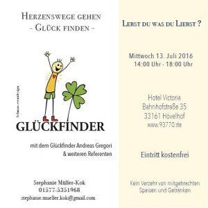 Der Glückfinder zu Gast in Hövelhof bei Stephanie Müller-Kok @ Hotel Victoria    Hövelhof   Nordrhein-Westfalen   Deutschland